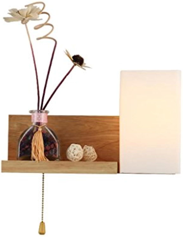 DENG Einfache Massivholz-Wandleuchte Bedside LED Das nordische kreative Moderne Schlafzimmer Wohnzimmer Balkon Wandleuchte mit Schalter (ohne Dekorationen) Energieklasse A +