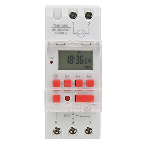 Interruptores de temporizador Enchufe de temporizador de plástico Indicadores LED Interruptores de tiempo programables para montaje en riel DIN de 35 mm