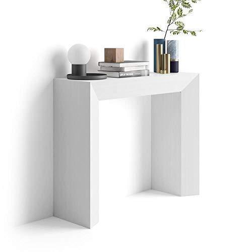 Mobilifiver Mesa Consola, Modelo Giuditta, Color Blanco Ceniza, 90 x 30 x 75 cm
