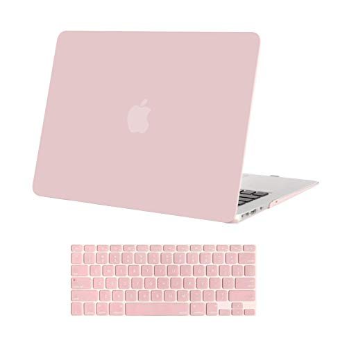 MOSISO Compatible with MacBook Air 13 inch Case Old Version 2010-2017 Release (Models: A1466 & A1369), Plastic Hard Shell Case & Keyboard Cover Skin, Rose Quartz