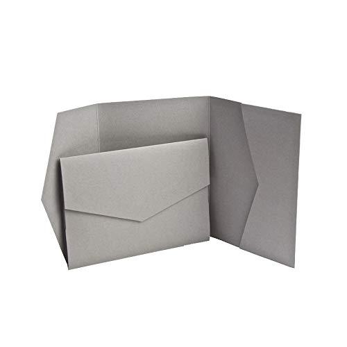 Duif Grijs Matte Pocketfold Uitnodigingen 151mmx212mm van Pocketfold Uitnodigingen LTD Grijs