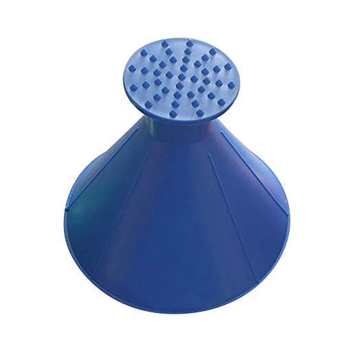 Huhu833 Schneeschaufel Werkzeug, Schnee kratzen Runde magische kegelförmige Windschutzscheibe mit Eiskratzer Schneeschaufel Windschild Eiskratzer (Blau)
