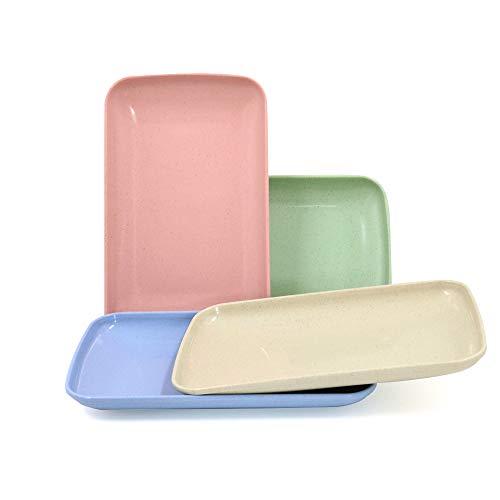 Roucerlin - Piatti in paglia di grano infrangibili, lavabili in lavastoviglie, riutilizzabili, resistenti, leggeri, piatti per piccoli bambini, per frutta, spuntini