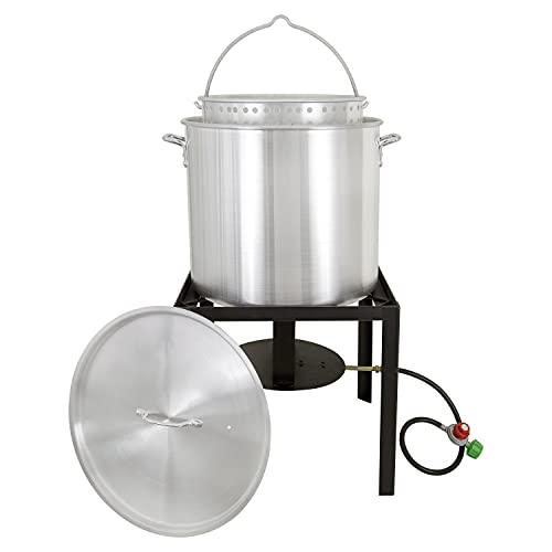 Zatarains New Orleans Style 80 QT Crawfish Cooker Kit, Quart, Silver