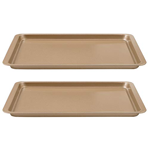2 Pièces Plaques à Pâtisserie Antiadhésives Plaque de Cuisson Pâtisserie Inox Lave-Vaisselle Rectangle 37 x 25 cm