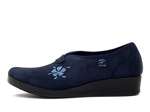 Fly Flot, Pantofole Donna Chiuse Invernali in Tessuto Blu, Zeppa Bassa, N3747