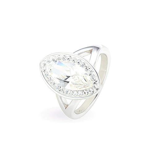 LA SENJA Anillo marquesa de plata de ley 925 con cristales brillantes, hecho a mano