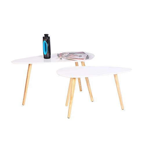 Wonderhome Runde Couchtische aus Holz Satztische Moderner Triangle Beistelltisch für Wohnzimmer und Büro 2er Set Weiß(2)
