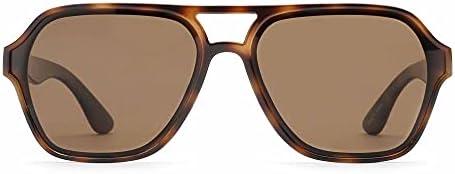 GLINDAR Men's Polarized Aviator Sunglasses Vintage Square Driving Glasses