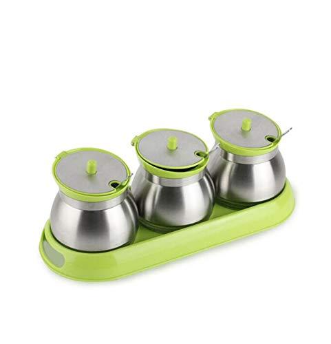 Fournitures De Cuisine Pots À Assaisonner En Verre Boîtes À Assaisonnements En Acier Inoxydable Ensemble À Marmite Pour Assaisonnement Boîte À Assaisonnements Boîtes De Sel Avec Petites Cuillères Vert