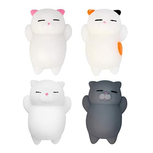 Chilits 4 Stück Mochi Squishys Mochi Stress-Spielzeug Squeeze Stress Relief Squishy Cat Toy Kinder Spielzeug Puppe Geschenk Erwachsene Stress Relief Spielzeug