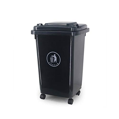 For Sale! WQEYMX Outdoor Trash can Outdoor Plastic Waste bin, Trash can with Pulley can Move 50L Whe...