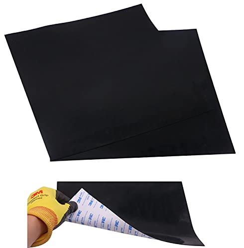 2 Pcs Adhesive Black Heat Resistant Rubber Pad Thin Silicone Grade Rubber Gasket Sheet,12 by 12 inch by1/25 Inch