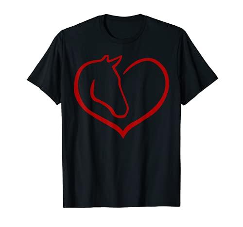 Süßes Herz mit Pferd t-shirt Mädchen Damen Geschenk T-Shirt
