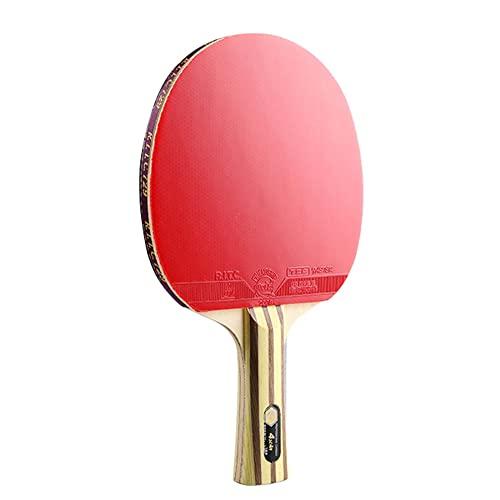 LINGOSHUN Raquetas de Tenis de Mesa Profesional con Estuche,Raquetas de Ping Pong de 5 Capas de Madera y 2 Capas de Carbono con Goma Aprobada por la ITTF / 4 Stars/Long handle