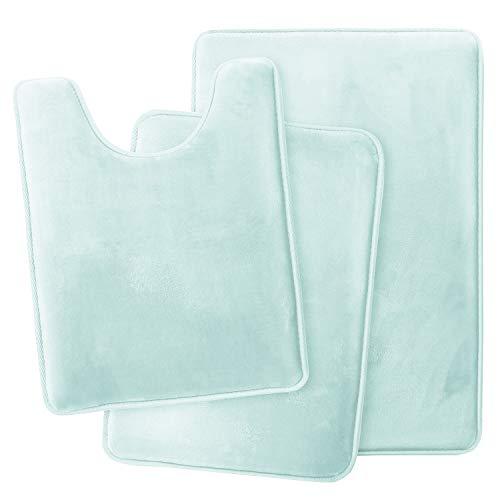 Clara Clark Bathroom Rugs, Ultra Soft Non Slip and Absorbent, Velvet Memory Foam Bath Mat. Set of - 20 x 32 / 17 x 24 / 19 x 24, Aqua Light Blue