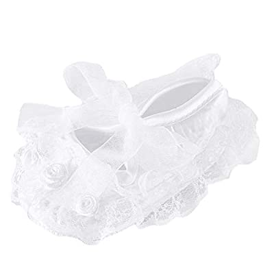 Bow Dream Baby Girl's Baptism Christening Shoes White Lace Flowers 0-3 Months