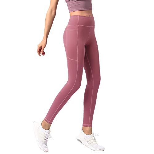 BKAUK Fitness Yoga Broek Taille Heining Billen Outer Wear Running Sneldrogende Track Broek Lady met Zakken Tummy Controle S