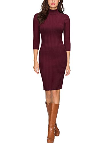 MIUSOL Damen 3/4 Aermel Wollkleid hoher Kragen Figurbetontes Strickkleid Pullover Kleid Weinrot S