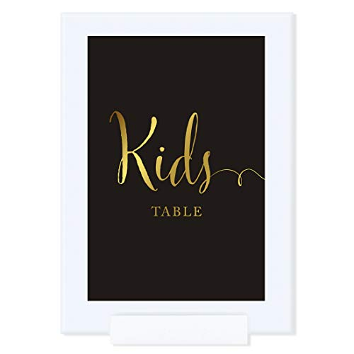 Andaz Press Wedding Framed Party Signs, Black and Metallic Gold Ink, 4x6-inch, Kids Table Sign, Double-Sided, 1-Pack, Includes Frame