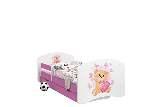 Happy Babies -LIT D'ENFANT ROSE DOUBLE FACE AVEC TIROIR Design Moderne Avec Bords Sécurisés et Matelas en Mousse Antichute 7 cm (07. Ours en peluche amoureux, 190x90)