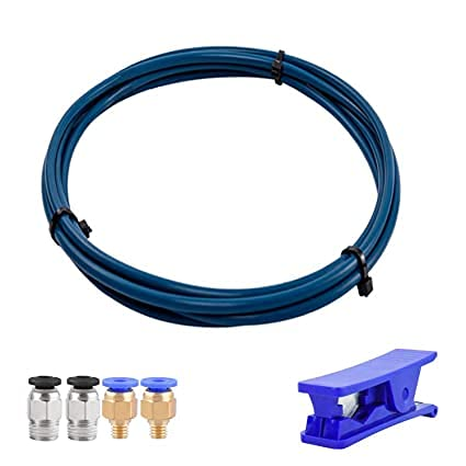 Yilirongren Capricorn 1M PTFE Bowden Tubing for 1.75mm Filament with PTFE Teflon Tube Cutter + Upgraded PC4-M6 and PC4-M10 Pneumatic Fittings with Metal Teeth and Collet Clip