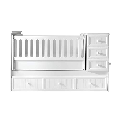 Marie Delaamöbel Baby Bed German Brand with Swing Function Drawers Pull-out Bed Grille Height Adjustable with Mattress Cover 80 x 130 cm White