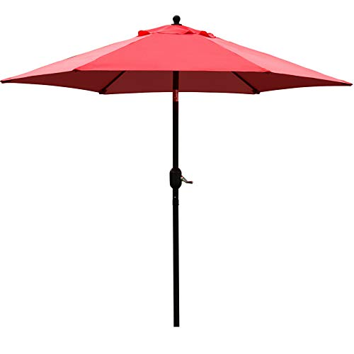 Sunnyglade 7.5' Patio Umbrella Outdoor Table Market Umbrella with Push Button Tilt/Crank, 6 Ribs (Red)