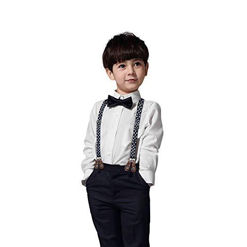 Yilaku Hose Mit Hosenträger Jungen+Jungen Hemd Mit Krawatte 4tlg Tauf Kleidung Baby 12Monate Junge Geschenk 1 Jahr Sommer Anzug Fur Junge(Weiß-1, 9-12 Monate)