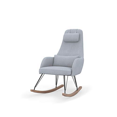 dadada Weeble Rocking Chair – Waterproof Fabric, Ergonomic Design Ideal for Nursery – Modern, Easy-to-Assemble, Light Gray (Cloud)