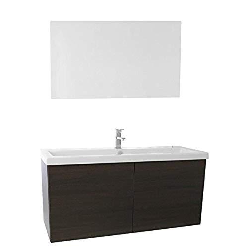 Iotti SE143 - Mueble de baño con lavabo de cerámica y espejo, Moderno, 47', Wenge
