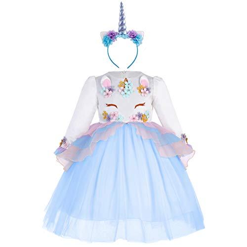 Princesa Bebé Niña Vestido Unicornio Cumpleaños Disfraz deCosplay para Fiesta Carnaval Navidad Bautizo Comunión Boda Manga Larga 004 Azul(2PCS) 2-3 años