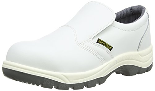Safety Jogger Stahlkappen Sicherheits Clog - Professioneller Arbeitsschuh für Damen oder Herren, ideal für die Küchen- oder Lebensmittelindustrie, X0500 Weißes Leder, EU 40