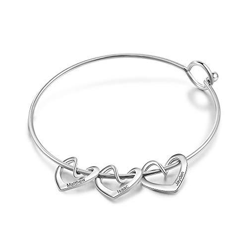 Personnalisé Bracelet avec 2-5 Coeur Pendentifs Gravé Acier inoxydable Bracelet Manchette Amitié Femmes Cadeau de pour Noël Anniversaire Fête des Mères La Saint-Valentin (3 cœur argent)