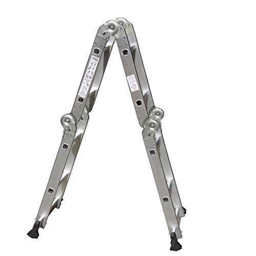 YI0877CHANG Scaletta Pieghevole Combinazione Resistente di prolunga Pieghevole in Alluminio Multiuso in Alluminio (2,5 Metri) Stepladder