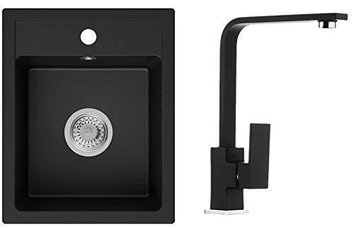 Küchenspüle Schwarz 40 x 50 cm, Spülbecken + Wasserhahn Küche + Siphon, Granitspüle ab 40er Unterschrank, Einbauspüle von Primagran