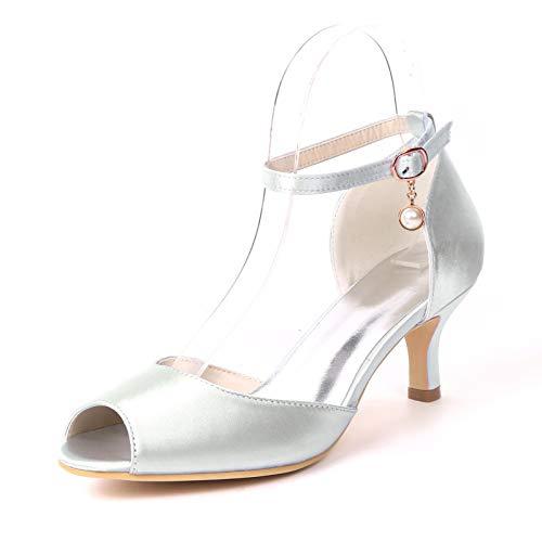 HLONGG Bombas Zapatos De La Boda, Sandalias Peep Toe Altos Talones De Las Mujeres,Plata,US8/EU39/ UK6