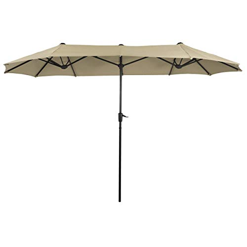 PHI VILLA 13ft Double-Sided Twin Outdoor Patio Umbrella Market Umbrella, Beige
