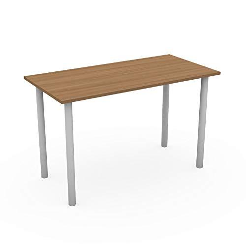 LEVIRA Schreibtisch, Computertisch, Tisch Danube, 120 x 60 x 74 - Weiß und Kirsche Schoko