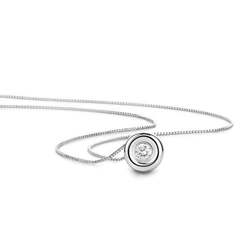 Orovi Schmuck Damen 0.05 Ct Diamant Halskette Weißgold Kettenanhänger Kreis mit Solitär Brillant Kette aus 18 Karat (750) Gold, 42 cm lang