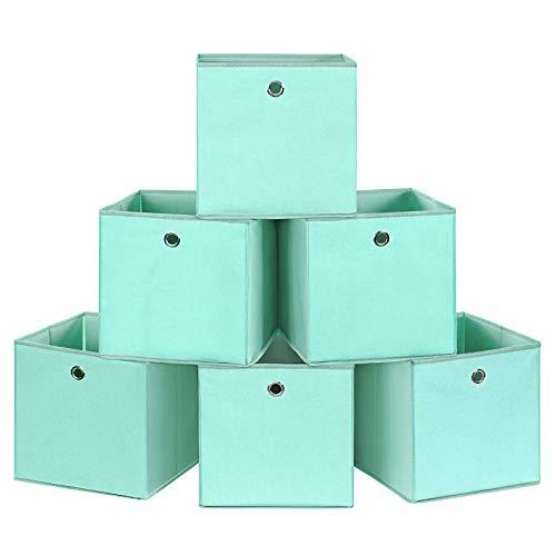 SONGMICS Aufbewahrungsboxen, 6er Set, Faltbare Stoffboxen, Faltboxen aus Vliesstoff, Würfel, Aufbewahrungskörbe, für Spielzeug und Kleidung, grün RFB02GN-3