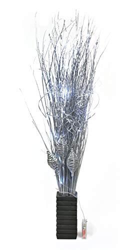 Link Products Fascio di rami di salice, argento, altezza 95cm, vaso quadrato in legno da 20cm con 20luci LED incluse. Perfetto per qualsiasi stanza tutto l'anno, batterie non fornite