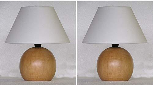 Coppia lumetto lampada abat jour da comodino sfera in legno tornito col frassino con paralume; produzione propria, made in Italy