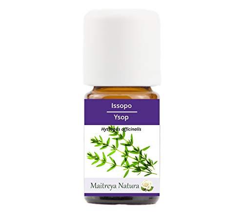 Maitreya Natura Olio Essenziale biologico ISSOPO, 100% puro e naturale, 5ml - aromaterapia, diffusore, massaggio, cosmetica - qualità controllata e certificata, vegan