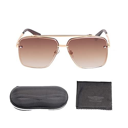 Gafas de sol Mujer Hombre, Unisex Adulto Estructura de Metal Rectangular Gafas de sol
