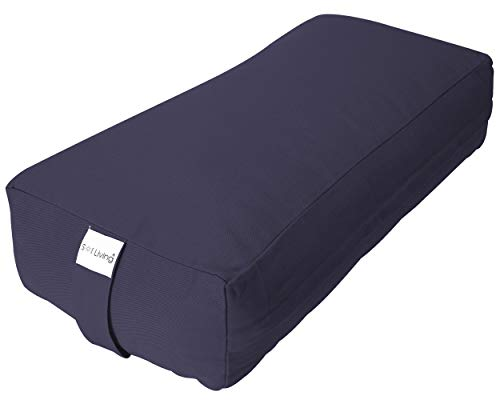"""Sol Living Rectangular Meditation Cushion - Premium Cotton - Stabilizes Back, Supports Posture - Floor Pillow for Sitting & Lotus Pose - 28"""" x 12"""" x 8"""", Navy Blue"""