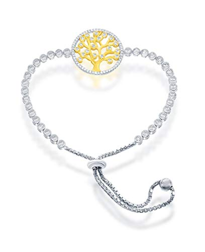 Pulsera de plata de ley chapada en oro con forma de árbol de la vida con circonita cúbica transparente