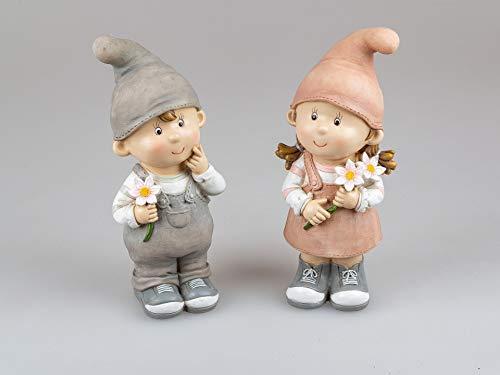 Small-Preis Deko-Figuren Sommerkinder Greta und Franz stehend Gartenkinder mit Blumen Frühjahrsdeko Sommerdeko für Innen und Außen 28x12cm groß im 2er Set