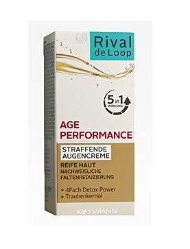 Rival de Loop Age Performance Straffende Augencreme mit Detox Power, Avocadoöl und Traubenkernöl Inhalt: 15ml Augencreme für reife Haut. Anti-Age-Eyecream