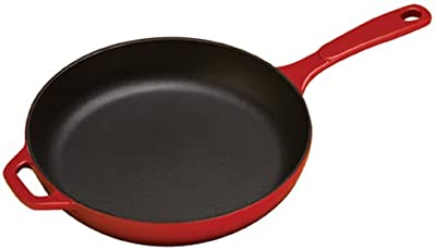 Lodge Enameled Cast Iron Skillet, 11-inch, Red